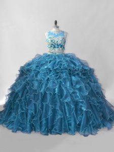 Deluxe Blue Zipper 15th Birthday Dress Beading and Ruffles Sleeveless Brush Train