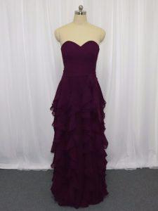 Dark Purple Sweetheart Neckline Ruffled Layers and Ruching Prom Party Dress Sleeveless Zipper