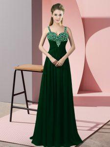 Dark Green Zipper Prom Party Dress Beading Sleeveless Floor Length