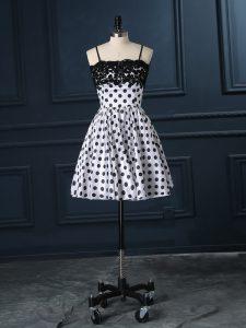 Fashionable White Spaghetti Straps Neckline Lace Prom Gown Sleeveless Zipper