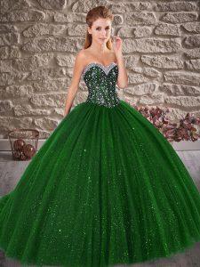 Green Sleeveless Brush Train Beading Ball Gown Prom Dress