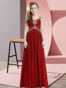 Red Straps Side Zipper Beading Evening Dress Cap Sleeves