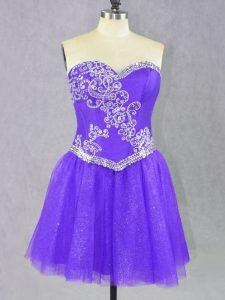 Elegant Lavender Lace Up Prom Dress Beading Sleeveless Mini Length