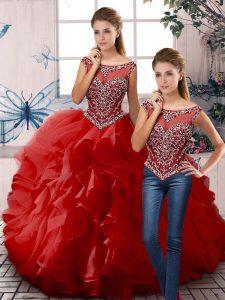Sleeveless Zipper Floor Length Beading and Ruffles Quinceanera Dress