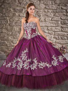 Purple Taffeta Lace Up Quinceanera Dress Sleeveless Floor Length Appliques
