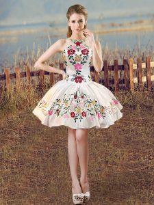 White Lace Up Homecoming Dress Embroidery Sleeveless Mini Length