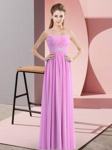 Lilac Chiffon Zipper Sweetheart Sleeveless Floor Length Dress for Prom Beading