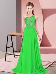 Green Chiffon Side Zipper One Shoulder Sleeveless Floor Length Prom Party Dress Beading