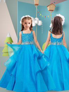 Organza Sleeveless Floor Length Kids Formal Wear and Beading and Ruffles