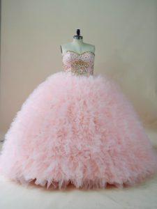 Baby Pink Lace Up Sweetheart Beading and Ruffles Sweet 16 Dress Tulle Sleeveless Brush Train