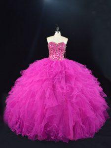 Pretty Sleeveless Floor Length Beading and Ruffles Lace Up Sweet 16 Dress with Fuchsia