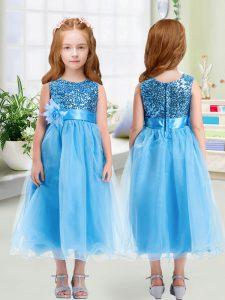 Baby Blue Scoop Zipper Sequins and Hand Made Flower Flower Girl Dresses for Less Sleeveless