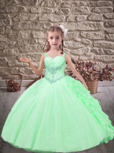 Apple Green Sleeveless Brush Train Beading and Ruffles Little Girls Pageant Dress