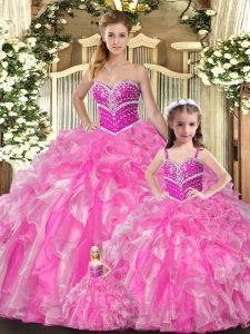 Rose Pink Organza Lace Up Sweetheart Sleeveless Floor Length Sweet 16 Dress Beading and Ruffles