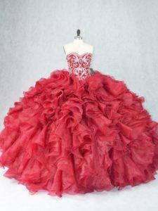 Sweetheart Sleeveless Sweet 16 Quinceanera Dress Floor Length Beading and Ruffles Burgundy Organza