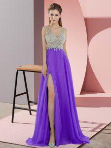 Lavender Chiffon Zipper Prom Party Dress Sleeveless Sweep Train Beading