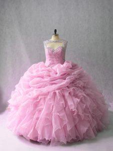 Romantic Organza Sleeveless Quinceanera Dress Brush Train and Beading and Ruffles