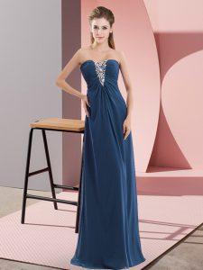 Excellent Sleeveless Floor Length Beading Zipper Prom Dress with Navy Blue