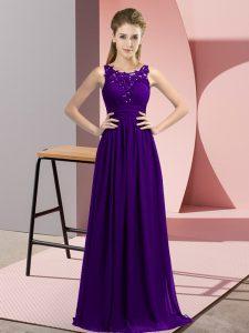 Lovely Purple Zipper Bridesmaid Dress Beading and Appliques Sleeveless Floor Length