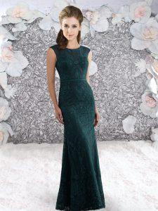 Discount Peacock Green Zipper Homecoming Dress Lace and Belt Sleeveless Floor Length