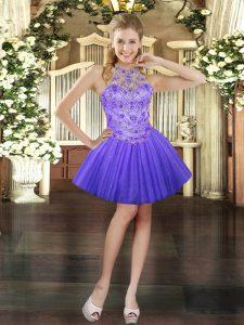 Lavender Halter Top Neckline Beading Celebrity Prom Dress Sleeveless Lace Up
