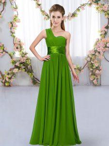 Glamorous Green Chiffon Lace Up Bridesmaid Dresses Sleeveless Floor Length Belt