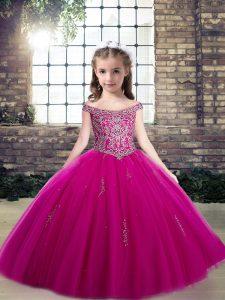 Sleeveless Lace Up Floor Length Beading Little Girls Pageant Dress