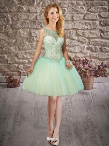 Mini Length Apple Green Dress for Prom Scoop Sleeveless Backless