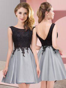 Grey Sleeveless Mini Length Lace Zipper Wedding Party Dress