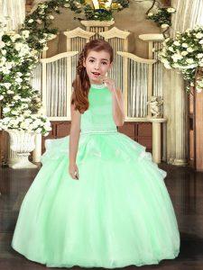 Apple Green Ball Gowns Beading Girls Pageant Dresses Backless Organza Sleeveless Floor Length