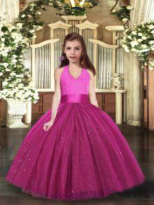 Tulle Sleeveless Floor Length Little Girls Pageant Dress and Ruching