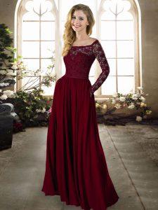 Stylish Burgundy Empire Off The Shoulder Long Sleeves Chiffon Floor Length Zipper Lace Bridesmaids Dress