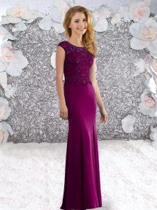 Amazing Scoop Sleeveless Evening Dress Sweep Train Beading Fuchsia Elastic Woven Satin