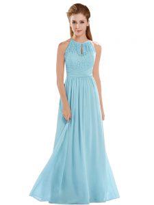 Aqua Blue Empire Chiffon Halter Top Sleeveless Lace Floor Length Backless Prom Party Dress