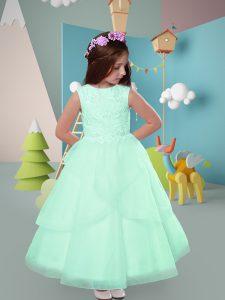 Scoop Sleeveless Toddler Flower Girl Dress Ankle Length Lace Apple Green Tulle