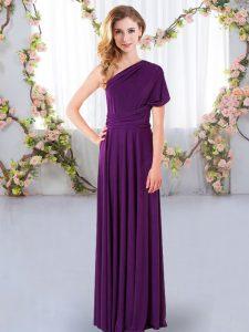 Elegant Purple Sleeveless Chiffon Criss Cross Wedding Guest Dresses for Wedding Party