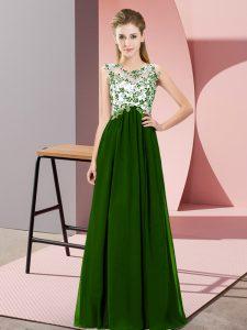 Custom Made Green Sleeveless Beading and Appliques Floor Length Bridesmaid Dresses