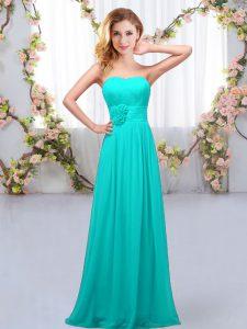 Spectacular Empire Wedding Party Dress Aqua Blue Sweetheart Chiffon Sleeveless Floor Length Lace Up