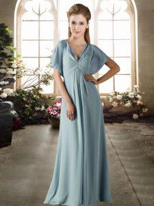 Light Blue Short Sleeves Ruching Floor Length Wedding Guest Dresses