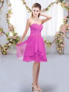 Flare Sweetheart Sleeveless Wedding Party Dress Knee Length Ruffles and Ruching Fuchsia Chiffon