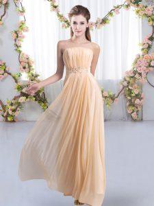 Spectacular Peach Bridesmaid Gown Chiffon Sweep Train Sleeveless Beading