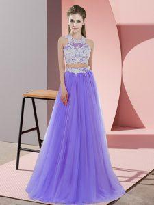Halter Top Sleeveless Zipper Wedding Guest Dresses Lavender Tulle