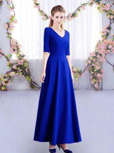 Ankle Length Empire Half Sleeves Royal Blue Wedding Party Dress Zipper