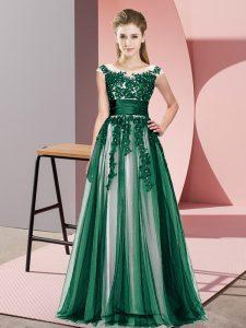 Attractive Dark Green Empire Beading and Lace Bridesmaids Dress Zipper Tulle Sleeveless Floor Length