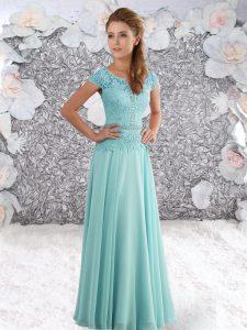 Aqua Blue Chiffon Zipper Scoop Short Sleeves Floor Length Celebrity Dress Beading and Lace