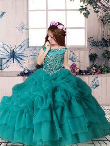 Teal Organza Zipper Scoop Sleeveless Floor Length Little Girls Pageant Dress Wholesale Beading and Pick Ups