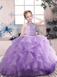 Lavender Organza Zipper Scoop Sleeveless Floor Length Kids Pageant Dress Beading and Ruffles