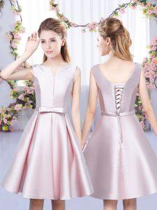 Low Price V-neck Sleeveless Bridesmaid Dress Mini Length Bowknot Baby Pink Satin