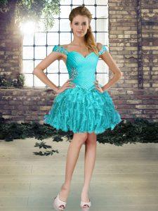 Luxurious Aqua Blue Sleeveless Beading and Ruffles Mini Length Prom Gown