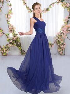 Flirting Floor Length Empire Sleeveless Royal Blue Wedding Party Dress Lace Up